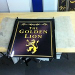 The Golden Lion swing sign :: Custom Graphics by St Ives Signs